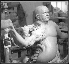 """Brian Wade sculpting the full sized """"Blair Monster"""" for John Carpenter's """"THE THING"""" (1982)"""