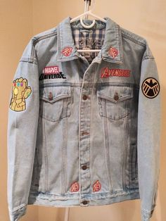 marvel universe Avengers / Agents of . Fans can now Custom Create a fully embroidered Denim (Jean) Jacket Choose your favorite 22 individual Superhero Icons Durable pre-shrun Marvel Fashion, Cool Outfits, Fashion Outfits, Modest Outfits, Skirt Outfits, Modest Fashion, Stylish Outfits, Summer Outfits, Marvel Clothes