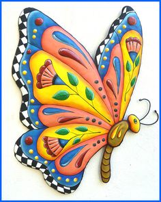 Butterfly Wall Hanging, Hand Painted Metal Whimsical Art, Funky Art, Metal Wall Art, Haitian Art, Decorative Home Decor - J-905-GL by TropicAccents on Etsy