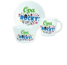 Geschenkset »Opa rockt«  Mit diesem coolen Geschenk-Set bestehend aus Tasse, Teller und Schale zeigst Du Deinem Opa, dass er der Hit ist! Das Design des rockig-bunten Trios ist mit viel Liebe zum Detail auf den Text abgestimmt. So kann Dein Großvater schon beim Frühstücken an seine/n liebe/n Enkel/in denken! Nur 19,99 €! http://sheepworld.de/shop/Weihnachten/Geschenk-Sets/Geschenkset-Opa-rockt.html