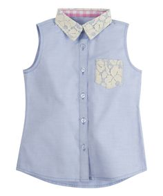 Loving this Light Blue Lace Chambray Button-Up - Toddler & Girls on #zulily! #zulilyfinds