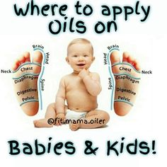 Where to apply oils on babies & kids...  Always use a carrier oil like dōTERRA's fractionated coconut oil!