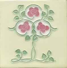 """Tile V84A - Reproduction Art Nouveau Tile - porteous nz - Tiles are aprox. 150mm x 150mm (6"""" x 6"""") or 150mm x 75mm (6"""" x 3"""")."""