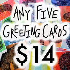 Greeting Card Set SALE  Any 5 5x7 Greeting Cards w/ by AtomicWhale, $14.00