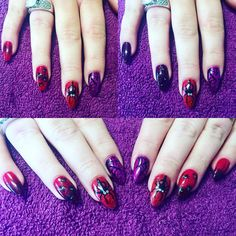 """""""Halloween spiders, so much fun to do! The colour changing gel polish, going from purple to glittery red really finishes this theme off perfectly!…"""""""