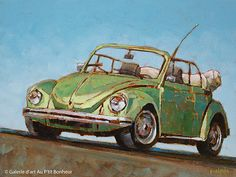 Susie Cipolla, 'Over The Hill', x Bus Art, Nostalgia Art, Art Gallery, Pinup, Ecole Art, Galerie D'art, Car Drawings, Cute Cars, Vintage Trucks