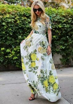 Green Floral Print Boxy Well Pleated Elbow Sleeve Floor Length Party Event Elegant Maxi Dress - Dresses