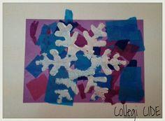 Sobre un collage de paper de seda estampam un floc de neu fet amb porexpan. 3 anys.