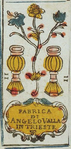"Two of Cups, late 18th C hand-coloured woodcut tarot deck. Lettered on the Two of cups ""Fabrica Di (made by) Angelo Valla in Trieste""."