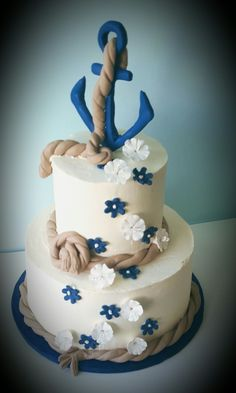 Anchor Navy Blue Nautical theme cake by Sweet Grace Anna's