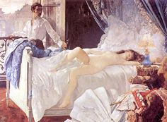 """Henri Gervex, Rolla. Seen at the special exposition, L'Impressionisme et la mode (Impressionism and Fashion), Musée d'Orsay, Paris, November 2012. The placard next to the painting said that another painter (I can't remember who now) advised Gervex to put clothes on the floor next to the bed, so it would be obvious that this was """"a woman"""" in the painting and not an artist's model!"""