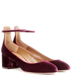 Aquazzura - Alix 50 velvet pumps - Aquazzura's Alix 50 pumps are crafted from beautiful burgundy velvet for an opulent take on the classic silhouette. The mid-height block heel comfortably elevates, while the slender ankle strap adds a delicate look for easy-to-wear elegance. Wear yours with a midi dress to show them off. seen @ www.mytheresa.com