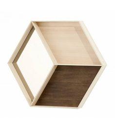 """Ferm Living Miroir avec étagère """"Mirror Wonderwall en bois, marron / crème, 60x50cm - lefliving.com"""