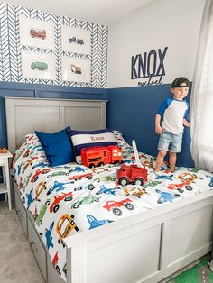 Toddler Room with Truck Decor Serena And Lily Wallpaper, Fire Trucks, Boy Room, Big Boys, Toddler Bed, Nursery, Name Signs, Projects, Pattern
