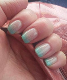 Mint ombre nails | Would go perfectly with our morganite and rose gold wedding ring set! ---> www.LaurieSarahDesigns.com