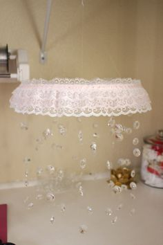 Crystal Mobile with Lace Trim Crystal Baby by TheMobileMaven
