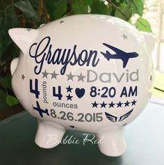 Personalized piggy bank custom baby birth stats gift baby girl pilot piggy bank pilot baby gift flight attendant baby gift personalized piggy bank negle Images