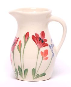Posie Ceramic Pitcher - 11 Pattern Options - Fortune And Glory - Made in USA Gifts Ceramic Pitcher, Glass Ceramic, Ceramic Clay, Ceramic Painting, Ceramic Pottery, Pottery Art, Painted Pottery, Pottery Painting Designs, Pottery Designs
