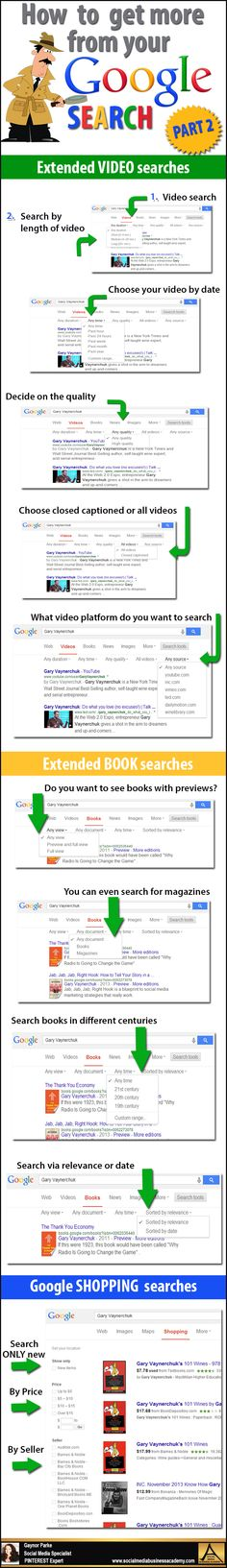 Great Google search tips to help you find things faster and easier. PART 2 For more tips and resources visit Pinterest Expert Gaynor Parke www.socialmediabusinessacademy.com Google Infographic