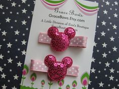 Minnie Inspired HOT PINK Mouse Hair Clips by gracebows on Etsy, $4.00