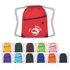Customize our drawstring bags for a great give away at your next trade show. They come in a variety of vibrant colors with a large zippered pocket for storing stuff and even an ear bud slot. It truly is a great promotional item for your company that everyone can enjoy using on a daily basis!