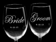 4 Wedding Party Wine Glasses, Wedding Glasses for Best Man, Maid of Honor, Bridal Party, $72.00