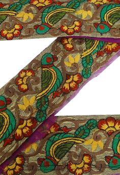 Vintage Sari Border Antique Decor Embroidered Indian Trim Plum Ribbon 1yd Lace | eBay