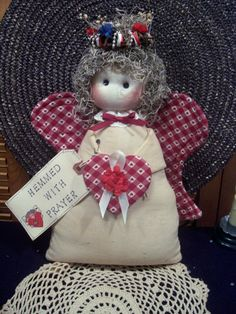 Primitive Whimsical Country Red ANGEL Doll