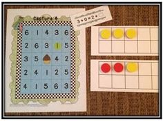 Understanding the equals sign- student picks a card, uses to ten frames to find the missing addend, covers answer on board