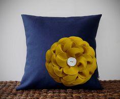 """Mustard Yellow Felt Flower Navy Blue Linen 16"""" PILLOW COVER by JillianReneDecor"""