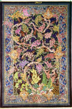 www.tableaurug.com Qom Qum Silk Persian Rug Tree of Life by Eshaghi Silk Persian Rug