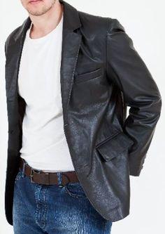 d168914d7e76 Mens Black Leather Blazer - Double Vented - High Grade Soft Nappa (S 38)