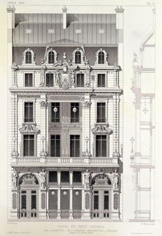 hotel arquitectura ARCHI/MAPS Elevation of the Hotel du Petit Journal on Rue Lafayette, Paris Parisian Architecture, Neoclassical Architecture, Classic Architecture, Historical Architecture, Sustainable Architecture, Beautiful Architecture, Architecture Details, Haussmann Architecture, Architecture Blueprints
