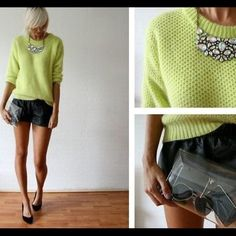 ✨Lime Sweater✨ Get the look! Barely worn, lime/neon colored sweater. Perfect layering piece for winter! (The first picture is a very similar sweater and a style idea). No trades! Aeropostale Sweaters Crew & Scoop Necks