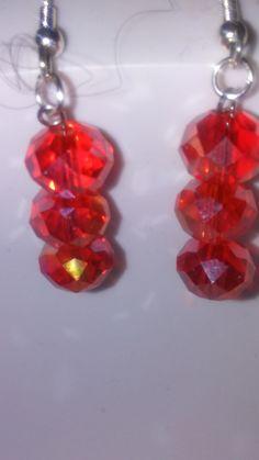 Rosey Crystal dangle earrings by EisbrenacDesigns on Etsy
