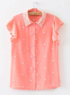 Pink Button Fly Lapel Beading Ruffle Sleeve Shirt
