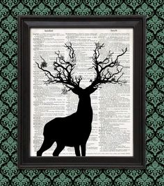 #Stag with Tree Branch Antlers and Flowers #Silhouette Illustration enchanted #elven forest nature art print #fantasticbeast, fairy tale, #druid by LiteralPrint on #Etsy
