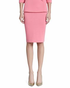 Milano Knit Pencil Skirt, Flamingo by St. John Collection at Neiman Marcus.