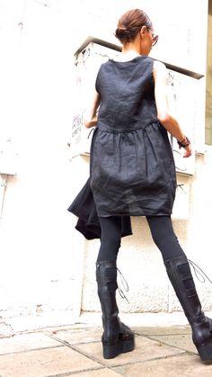 Oversize Black Linen / Cotton   Loose Set  / от Aakasha на Etsy