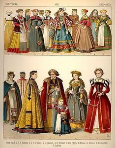 GERMAN COSTUMES 1550-1600 by Kretschmer - 1882- CHROMOLITHOGRAPH