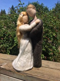 Needle Felted Bride and Groom Full Size by radishwoolworks on Etsy