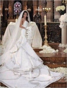 Eva Longoria married Tony Parker on July 7, 2007 wearing a mermaid-style silk and georgette organza gown with ribbons of metallic embroidery and a 10-foot train designed by Angel Sanchez. The gown was estimated to cost $75,000. She had nine bridesmaids. The bride carried a bouquet of white phalaenopsis orchid stems and crystal blush calla lilies. They were married in traditional Roman Catholic ceremony at the Church of Saint Germain l'Auxerrois in Paris.