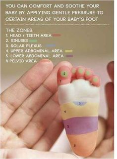 Relieve discomfort in your baby by massaging their feet.