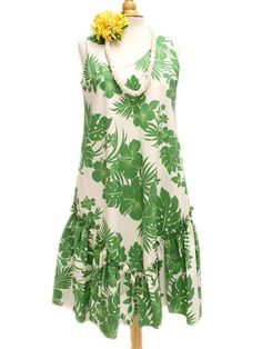 Sleeveless Flare Medium Dress [Hibiscus Panel/Green] - Middle Dresses - Hawaiian Dresses | AlohaOutlet SelectShop