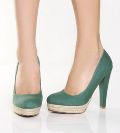 Go Max Mitsu 01 Teal Canvas Platform Heels -- i love that they're like almost wedges without wedge heels...