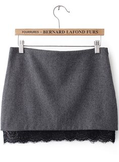 Grey Contrast Lace Bodycon Skirt US$20.18