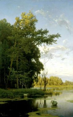 """Vladimir Donatovich Orlovsky - The lake in Gatchina Park, (1881). Oil on canvas, 143 x 89 cm. The State museum-preserve """"Gatchina"""", Russia."""