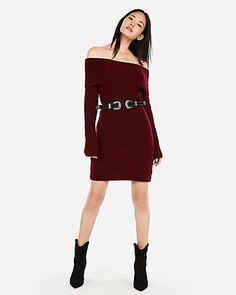 7c966eff4ab Off The Shoulder Sweater Dress Purple Women s
