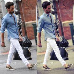 look masculino calça branca tênis estampado