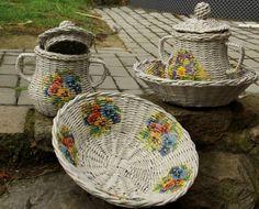 pletení z papíru - inspirace s ubrousky